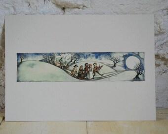 Pilgrim Moon - A4 print on cream card