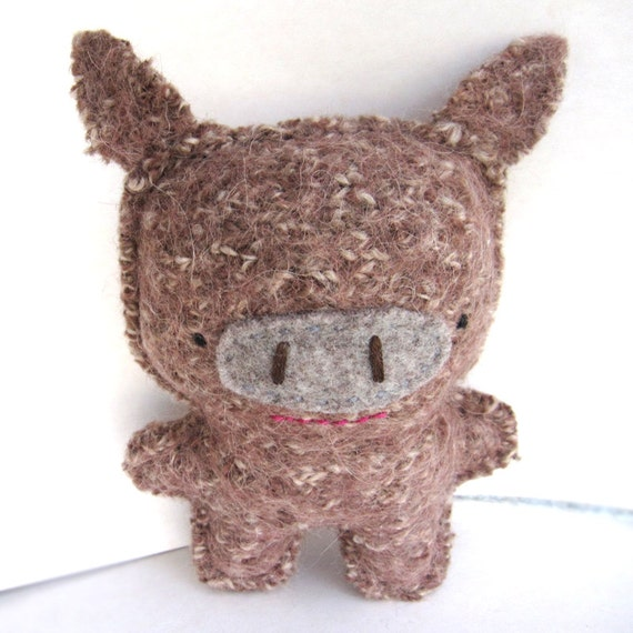 Brown Javelina - Recycled Wool Sweater Plush Toy