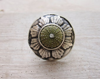 Big Green Sea Urchin Ring Large Cocktail ring Beach Jewelry