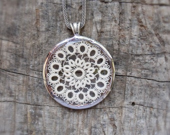 Vintage Doily Necklace Vintage Watch glass, Tatted Lace, metal, solder