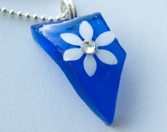 Cobalt Seaglass Necklace, Gifts for Girls, Paper Jewelry, Flower Pendant