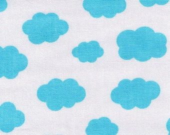 HALF YARD - Blue Sky Clouds on White - Lecien Color Basic - Japanese Import Fabric