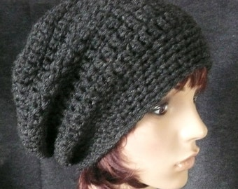 Super Slouchy Beanie in Charcoal Gray Heather
