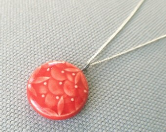 barbados necklace, blood orange ... handmade porcelain necklace by Sofia Masri