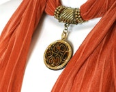 Pendant Scarf Necklace Scarves Burnt Orange Scarf With Asian Style Pendant