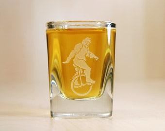 Sasquatch Shot Glass - Bigfoot Yeti on a Unicycle