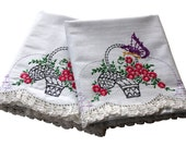 Vintage Pillow Cases - Flower Basket Pillowcases, Pair Cotton - Butterfly