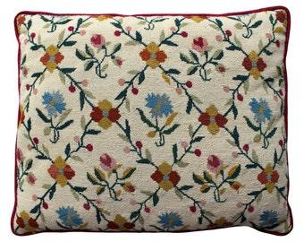 Needlepoint Flower Trellis Pillow - Bright Raspberry Back - Traditional Cottage