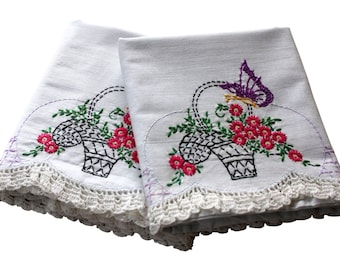 Vintage Embroidery Pillow Cases - Flower Basket Pillowcases, Pair Cotton - Butterfly - Crochet Edge - Handmade - Queen - Full