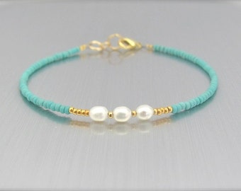 White Pearl Bracelet, Real Pearls, Turquoise Bracelet, Friendship Bracelet, Beaded Bracelet, Hawaiian Jewelry, Bridesmaid Wedding Gift