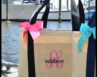 Personalized Black Natural Canvas Large Boat Tote with Ribbon Bow - Initial and Name Tote - bridesmaids gifts large group weddings gift set