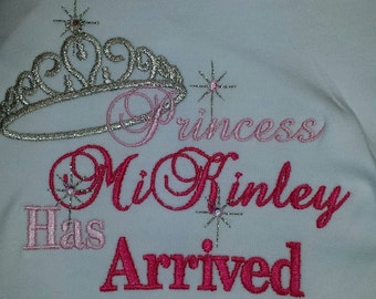 Princess Has Arrived Bodysuit T-shirt Embroidered Childrens Size Rhinestones Gown