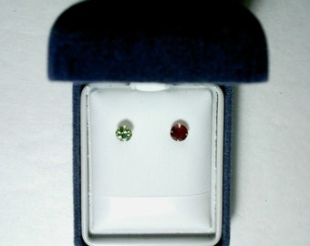 Demantoid Garnet and Natural Ruby in 14k Yellow Gold Single Stud Earrings