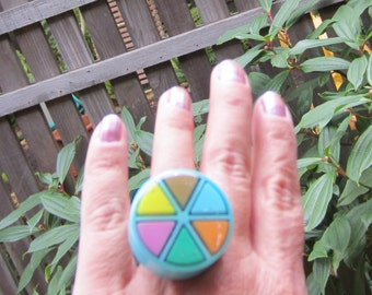 BLUE - Upcycled Trivial Pursuit Ring