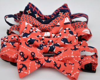 Boys Bow Tie Coral and Navy Blue Toddler Bowtie Nautical Baby Tie