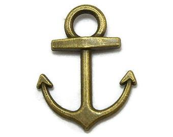 50 Anchor Charms Bronze Tone Metal BULK (EB-S212)