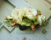 White and Pink Roses with Glitter Green Accents Hair Comb
