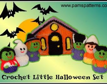 Crochet Little Halloween Set Patterns, halloween crochet patterns, crochet halloween, crochet haunted house pattern, crochet witch pattern
