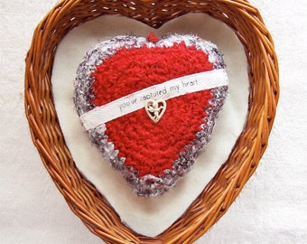 You've Captured my Heart - Silk Tapestry Valentine Ornament - HandMade Gift for Her - Message of Love - Embelllished Red White Cupid Plush