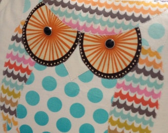 Turquoise and orange owl pillow sham OOAK and made to order too
