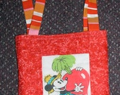 REDUCED PRICE,child's tote or library bag, quilted,orange with mickey mouse patchwork, fully lined , handmade, 9 by 10