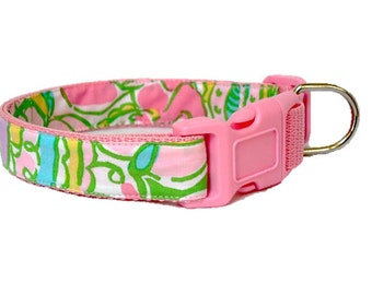 Dog Collar Made from Lilly Pulitzer Chin Chin Fabric Size: Your Choice