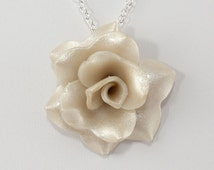 Ivory Pearl Rose Pendant - Simple Rose Necklace -Pearl Rose Necklace - Wedding Jewelry - Polymer Clay Rose Pendant - Ready to Ship #228