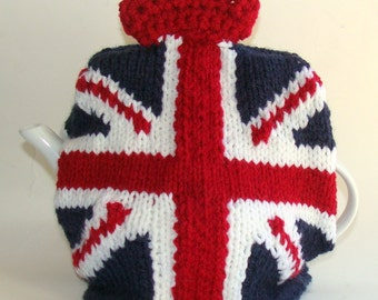 Union Jack Knitted Teapot Cozy with crown Vintage colors
