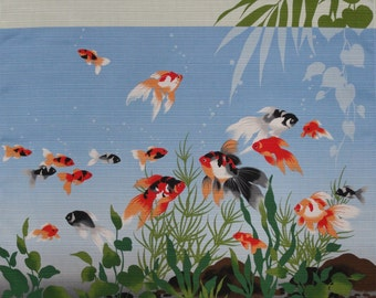 Goldfish Furoshiki Light Blue Kingyo Goldfish Cotton Japanese Fabric 50cm w/Free Insured Shipping