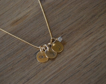 3 Gold Disk Necklace with Crystal