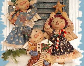 Primitive E-PATTERN Angel Snowman and Raggedy Tree topper doll