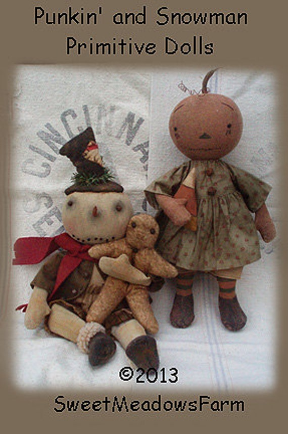 E Pattern Primitive Snowman With Gingerman And Punkin Doll Pdf