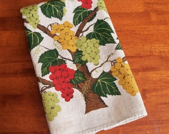 Vintage Linen Tea Towel - Grapevine with Grapes in Red Gold and Green