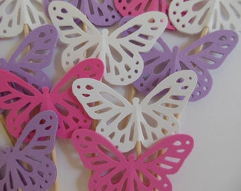 Butterfly Cupcake Toppers - Rose Pink, Violet and White - Birthday Decorations - Baby Shower Decorations - Bridal Shower Decorations