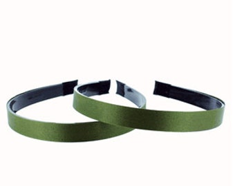 """1 piece-14mm (1/2"""") Satin Lined Black Plastic Headband with Teeth in Willow"""