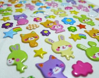 Cute Puffy Japanese Glossy Stickers  - Animal Fun - Bunny Kitty Pals (1255L)