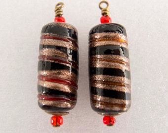 Handcrafted Vintage Czech 1960s Black with Aventurine Lampwork Cylinders and Aged Brass Dangles Charms Drops Jewelry Components - 2