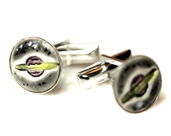 Saturn or Ringed Planet Silver Plated Ceramic Inlaid Cufflinks in speckled Gray