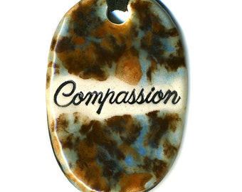 Compassion Ceramic Necklace in Brown and Blue