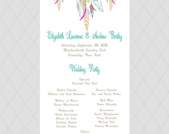 Whimsical Feather Wedding Programs