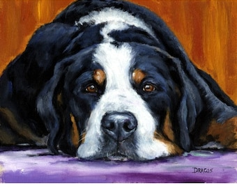 Greater Swiss Mountain Dog Art Print of Original Painting by Dottie Dracos