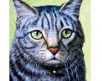 Cat Art Print from Original Painting by Dottie Dracos, Tabby Blue and Black Green Eyes
