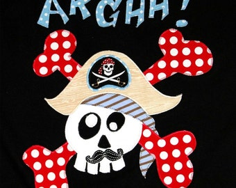 Personalized Top with Skull Pirate, Pirate Party, Glow in the Dark Party, Camp Shirt, Skull and Crossbones, Pirate Party Gift, Pirate Ship
