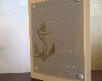 Anchor and Waves Thank You - 24-Pack Gocco Screen-Printed Cards