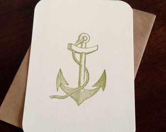 Anchor - Flat Screen-Printed Greeting Card