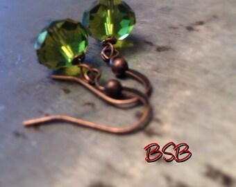 Olive green crystal beaded earrings