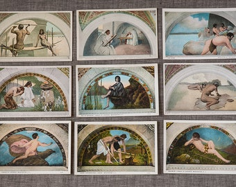 Vintage Unused Postcards of United States Library of Congress Murals