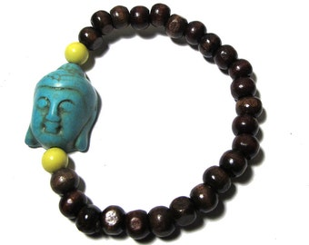 Ready to SHIP - Handmade Wrist Mala- Brown with Turquoise Buddha