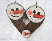 Snowmen Face ~ Heart  Hanger ~  Hand Painted Tin ~White and Brown ~ Rustic, Primitive