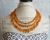 Natural Amber Necklace. Sterling silver clasp. Handmade. Lightweight. Statement Jewelry. Triple strand.